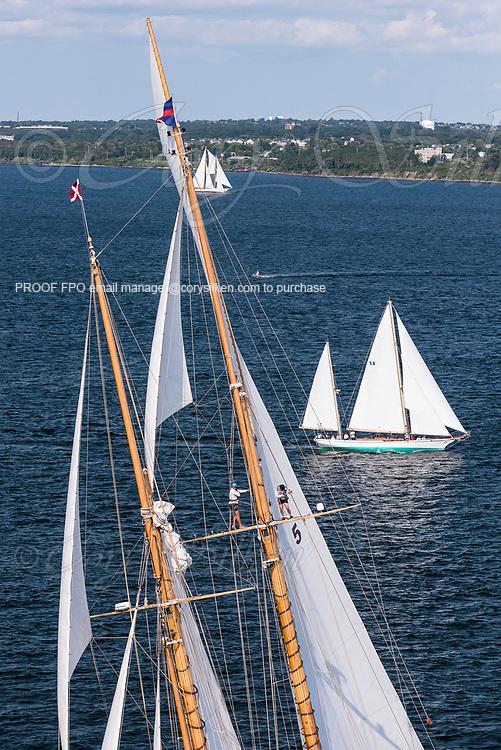 Eleonora and Arrluuk sailing in the Panerai Newport Classic Yacht Regatta.