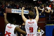 DESCRIZIONE : Milano Eurolega Euroleague 2013-14 EA7 Emporio Armani Milano Olympiacos Piraeus<br /> GIOCATORE : Mohamed Toure Nicolo Melli Tifosi<br /> CATEGORIA : Ritratto Esultanza<br /> SQUADRA : EA7 Emporio Armani Milano <br /> EVENTO : Eurolega Euroleague 2013-2014<br /> GARA : EA7 Emporio Armani Milano Olympiacos Piraeus<br /> DATA : 09/01/2014<br /> SPORT : Pallacanestro <br /> AUTORE : Agenzia Ciamillo-Castoria/G.Cottini<br /> Galleria : Eurolega Euroleague 2013-2014  <br /> Fotonotizia : Milano Eurolega Euroleague 2013-14 EA7 Emporio Armani Milano Olympiacos Piraeus<br /> Predefinita :