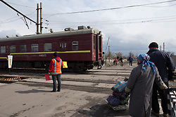 One of the first diesel powered trains to resume service in Debaltsevo as work continues on restoring and repairing the overhead power cables of the railway lines that pass through this important rail hub in eastern Ukraine. The city is slowly recovering following momnths of fighting that detsroyed much of it's infra structure and many of the homes of its residents.