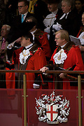 Newly-elected Alderman and Rt Hon The Lord Mayor of London, Roger Gifford (L), a merchant banker with Swedish bank SEB during the Lord Mayor's Show. He is the 685th in the City of London's ancient history. The new Mayor's procession consists of a 3-mile, 150-float parade of commercial and military organisations going back to medieval times. This is the oldest and longest civic procession in the world that has survived the Plague and the Blitz, today one of the best-loved pageants. Henry Fitz-Ailwyn was the first Lord Mayor (1189-1212) and ever since, eminent city fathers (and one woman) have taken the role of the sovereign's representative in the City – London's ancient, self-governing financial district. The role ensured the King had an ally within the prosperous enclave.