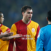 Galatasaray's Johan Elmander (C) during their Turkish superleague soccer derby match Fenerbahce between Galatasaray at Sukru Saracaoglu stadium in Istanbul Turkey on Saturday 17 March 2012. Photo by TURKPIX