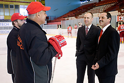 Dejan Varl, Ildar Rahmatullin, President Slavko Kanalec and Zvone Suvak at HK Acroni Jesenice Team roaster for 2009-2010 season,  on September 03, 2009, in Arena Podmezaklja, Jesenice, Slovenia.  (Photo by Vid Ponikvar / Sportida)