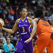 UNCASVILLE, CONNECTICUT- MAY 26:  Candace Parker #3 of the Los Angeles Sparks is defended by Alyssa Thomas #25 of the Connecticut Sun during the Los Angeles Sparks Vs Connecticut Sun, WNBA regular season game at Mohegan Sun Arena on May 26, 2016 in Uncasville, Connecticut. (Photo by Tim Clayton/Corbis via Getty Images)