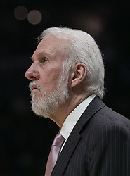 November 15, 2018 - Los Angeles, California, U.S - Coach, Gregg Popovich of the San Antonio Spurs during their NBA game with the Los Angeles Clippers on Thursday November 15, 2018 at the Staples Center in Los Angeles, California. Clippers defeat Spurs, 116-111. (Credit Image: © Prensa Internacional via ZUMA Wire)
