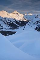 Winter sunset over Marriott Basin Coast Mountains British Columbia