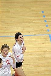 17 October 2014:  Emily Schneider & Kaitlyn Early during an NCAA Missouri Valley Conference (MVC) womens volleyball match between the Northern Iowa Panthers and the Illinois State Redbirds for 1st place in the conference at Redbird Arena in Normal IL