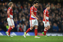 8 May 2017 - Premier League - Chelsea v Middlesbrough - A dejected Fabio of Middlesbrough among team mates - Photo: Marc Atkins / Offside.