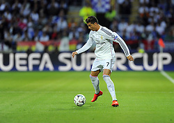 Real Madrid's Cristiano Ronaldo in front of the UEFA Super Cup Advert - Photo mandatory by-line: Joe Meredith/JMP - Mobile: 07966 386802 12/08/2014 - SPORT - FOOTBALL - Cardiff - Cardiff City Stadium - Real Madrid v Sevilla - UEFA Super Cup