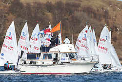 Day 2 of the RYA Youth National Championships 2013 held at Largs Sailing Club, Scotland from the 31st March - 5th April. ..CV Petronella on the 420 Course..For Further Information Contact..Matt Carter.Racing Communications Officer.Royal Yachting Association.M: 07769 505203.E: matt.carter@rya.org.uk ..Image Credit Marc Turner / RYA..