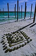Sand castle on beach - Destin, Florida.
