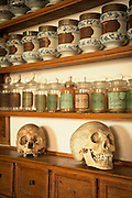 Skulls, Vials and Chemicals inside II Redentore's Pharmacy on the Island of Giudecca, venice, Italy, Europe