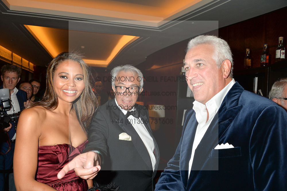 Left to right, VISCOUNTESS WEYMOUTH, SIR DAVID TANG and LAWRENCE STROLL at the London launch of Casamigos Tequila hosted by Rande Gerber, George Clooney & Michael Meldman and to celebrate Cindy Crawford's new book 'Becoming' held at The Beaumont Hotel, Brown Hart Gardens, 8 Balderton Street, London on 1st October 2015.