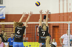 Jerala Alja of Nova KBM Branik vs. Mihevc Katja and Iglicar Urk of Caltic Volley during volleyball match between Nova KBM Branik Maribor and OK Calcit Volley in the Final of Slovenian Women Volleyball Cup 2017, on December 22, 2017 in Hoce, Slovenia. Photo by Mario Horvat / Sportida