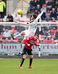 Falkirk's Luca Gasparotto over Dunfermline's Pal McMullan. Dunfermline 1 v 2 Falkirk, Scottish Championship game played 22/4/2017 at Dunfermline's home ground, East End Park.