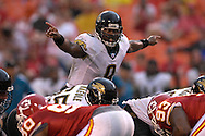 October 6, 2007 - Kansas City, MO..Quarterback David Garrard #9 of the Jacksonville Jaguars calls out some singles against the Kansas City Chiefs in the fourth quarter, during a NFL football game at Arrowhead Stadium in Kansas City, Missouri on October 6, 2007...FBN:  The Jaguars defeated the Chiefs 17-7.  .Photo by Peter G. Aiken/Cal Sport Media