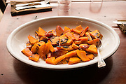Collaborating chefs Timothy Wastell and Linda Colwell create dishes with a variety of winter squash for the Squash Party at Firehouse Restaurant.