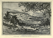 Engraving on Wood of Nazareth from the South from Picturesque Palestine, Sinai and Egypt by Wilson, Charles William, Sir, 1836-1905; Lane-Poole, Stanley, 1854-1931 Volume 2. Published in New York by D. Appleton in 1881-1884