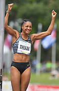 Nafi Thiam aka Nafissatou Thiam (BEL) celebrates after clearing a heptathlon world record 6-7 1/2 (2.02m) in the high jump during the DecaStar meeting, Friday, June 22, 2019, in Talence, France. Thiam won with 6,819 points. (Jiro Mochizuki/Image of Sport via AP)