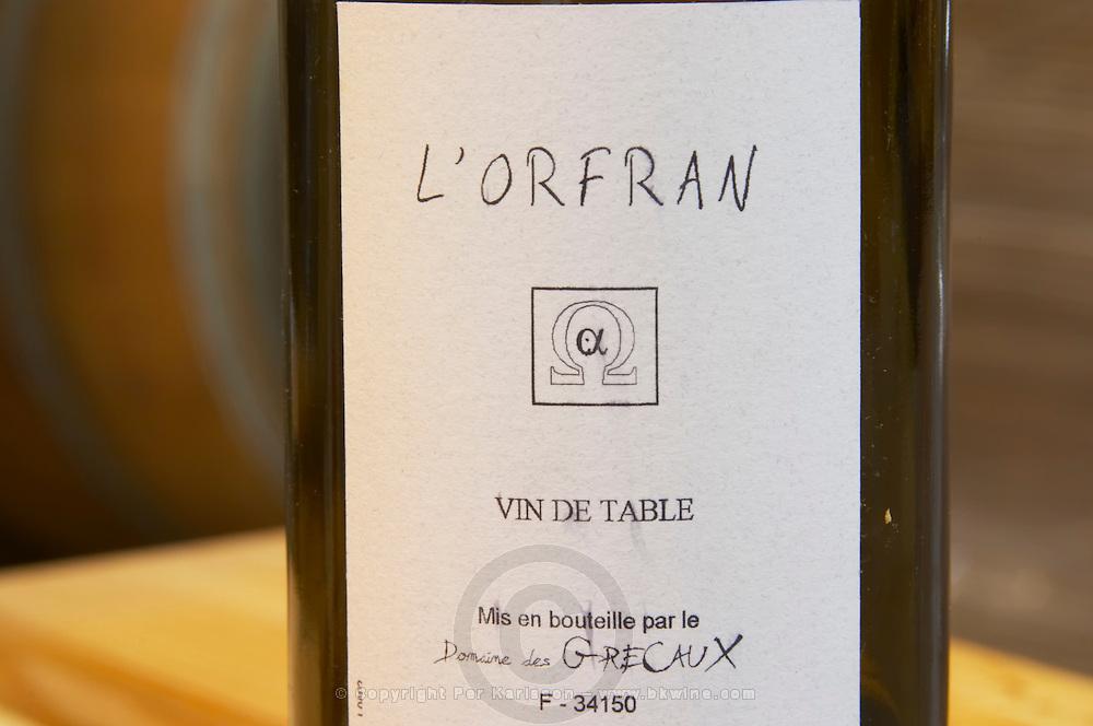 Cuvee L'Orfran Vin de Table. Domaine des Grecaux in St Jean de Fos. Montpeyroux. Languedoc. Bottle cellar. France. Europe. Bottle.