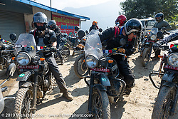 Heading out from our first of many roadside chai stop on Motorcycle Sherpa's Ride to the Heavens motorcycle adventure in the Himalayas of Nepal. This first day of riding took us from Kathmandu to Nuwakot. Monday, November 4, 2019. Photography ©2019 Michael Lichter.