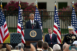 September 11, 2016 - Arlington, United States of America - U.S President Barack Obama speaks during a remembrance ceremony commemorating the 15th anniversary of the 9/11 terrorist attacks at the Pentagon September 11, 2016 in Arlington, Virginia. (Credit Image: © Ej Hersom/Planet Pix via ZUMA Wire)