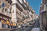 Lisbon, November 2012. Street at Bairro Alto district. Docker workers demonstration against crisis cutbacks.