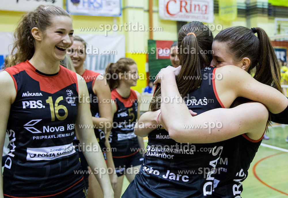 Iza Mlakar of Nova KBM Branik celebrate after winning during volleyball match between Nova KBM Branik Maribor and OK Luka Koper in Final of Women Slovenian Cup 2014/15, on January 18, 2015 in Sempeter v Savinjski dolini, Slovenia. Photo by Vid Ponikvar / Sportida