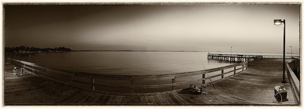 fishing at sunrise at Romancoke Peir, Stevensville Maryland