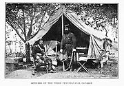 OFFICERS OF THE THIRD PENNSYLVANIA CAVALRY AFTER THE SEVEN DAYS from the book ' The Civil war through the camera ' hundreds of vivid photographs actually taken in Civil war times, sixteen reproductions in color of famous war paintings. The new text history by Henry W. Elson. A. complete illustrated history of the Civil war