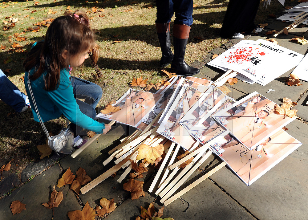 """35559258© Licensed to London News Pictures. 29/10/2011. London, UK.  A young girl picks up a banner featuring a defaced image of Syrian President Bashar Assad. Amnesty International join Syrians in the UK for a """"N0 More Blood - No More Fear"""" march and rally in Paddington Green, London, today 29th October 2011. Activists claim  Syrian security forces opened fire on Friday on protesters and hunted them down in house-to-house raids, killing about 40 people in the deadliest day in weeks in the country's 7-month-old uprising. Photo: Stephen Simpson/LNP"""