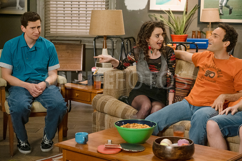 """THE GOLDBERGS - """"The Dating Game"""" – Trying to move on from their breakup, Erica goes on a date with a guy from the coffee shop while Geoff ends up on an episode of """"The Dating Game,"""" which winds up making things even more difficult for them both. Meanwhile, Beverly is thrilled to learn that Murray has spontaneously purchased a shore house until she realizes it's not quite the luxury home she imagined on a new episode of """"The Goldbergs,"""" WEDNESDAY, APRIL 21 (8:00-8:30 p.m. EDT), on ABC. (ABC/Scott Everett White)<br /> SAM LERNER, BETH TRIFFON, TROY GENTILE"""