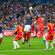 PARIS, FRANCE - September 10:  Clement Lenglet #19 of France and Olivier Giroud #9 of France are challenged by Marc Vales #3 of Andorra at a cross from a corner kick during the France V Andorra, UEFA European Championship 2020 Qualifying match at Stade de France on September 10th 2019 in Paris, France (Photo by Tim Clayton/Corbis via Getty Images)
