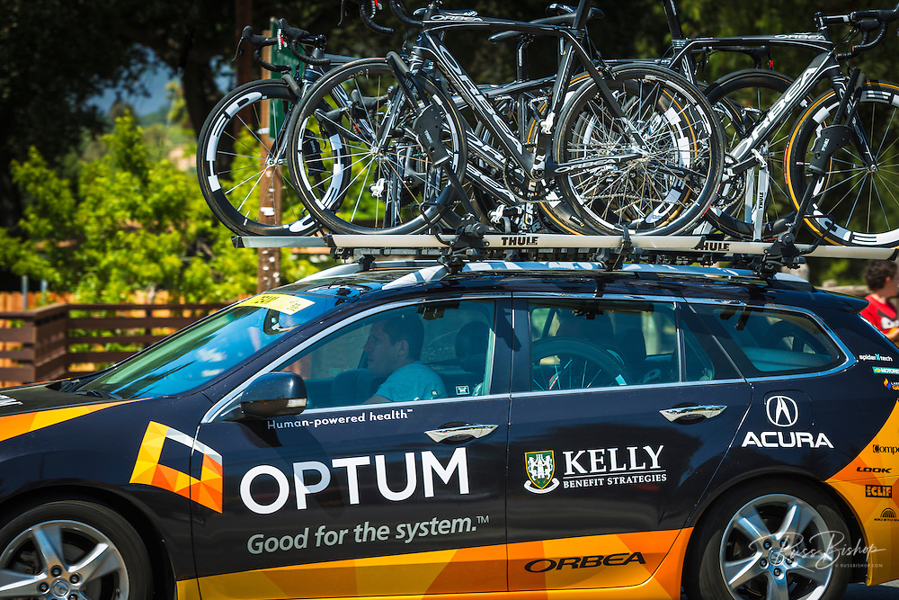 Team support car at the Amgen Tour of California bicycle race, Ojai, California USA