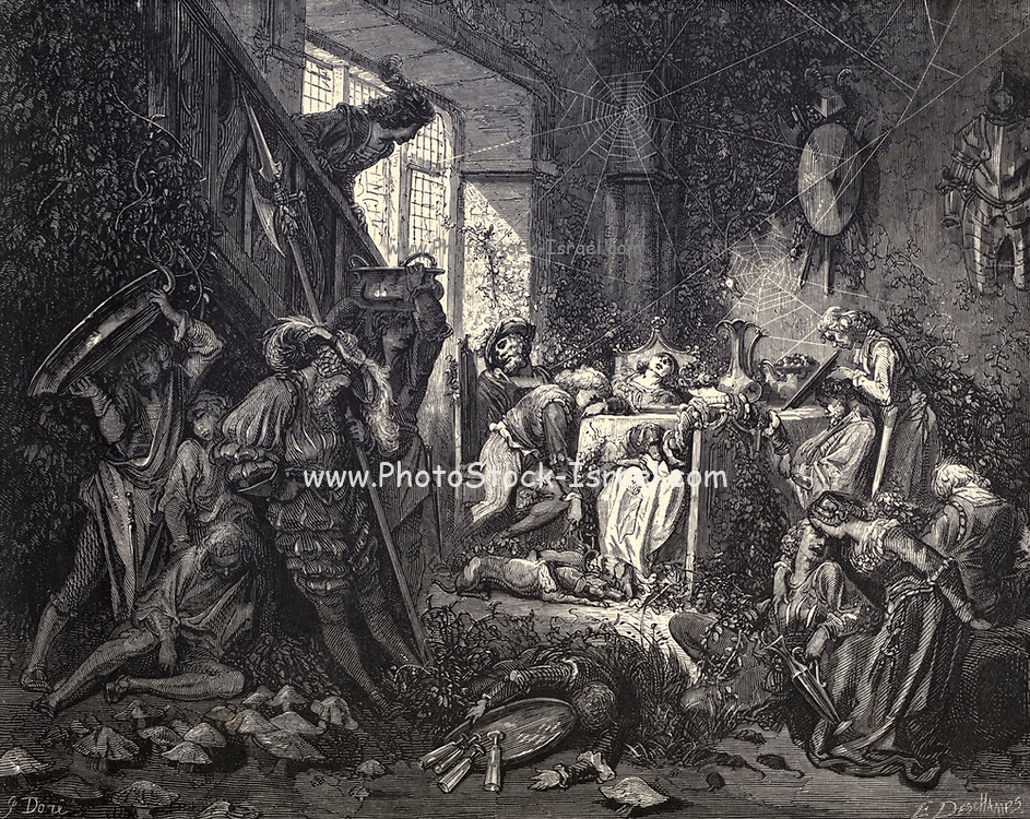 """Until he reaches the grandest room of all, the banqueting hall."""" Illustration from 'The Sleeping Beauty' by Paul Gustave Doré (1832-1883). The prince encounters everyone in the castle grounds in an enchanted sleep. From the book Fairy realm. A collection of the favourite old tales. Illustrated by the pencil of Gustave Dore by Tom Hood, (1835-1874); Gustave Doré, (1832-1883) Published in London by Ward, Lock and Tyler in 1866"""
