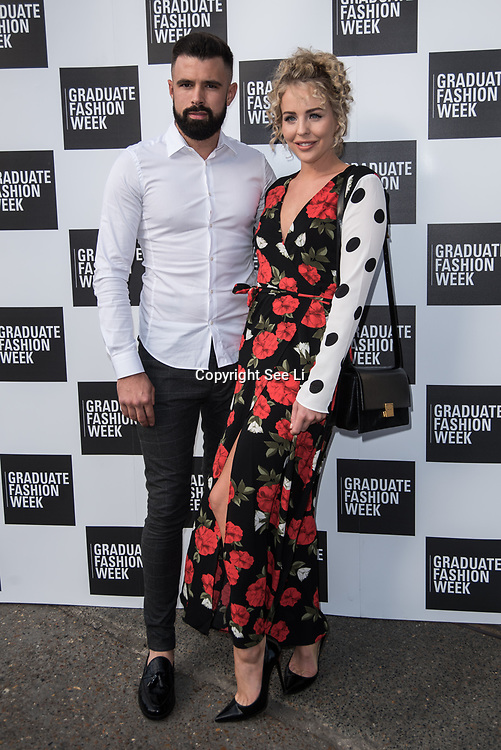 Lydia Bright and Lee arriver at the Graduate Fashion Week 2018, June 6 2018 at Truman Brewery, London, UK.