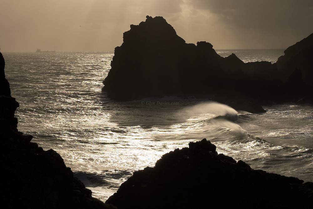 Clean surf rolling in at Kynance Cove on the Lizard Peninsula, South Cornwall.