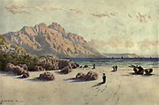Chapman's Peak and Slang Kop Point from Hout Bay, Cape Town From the book ' The Cape peninsula: pen and colour sketches ' described by Réné Juta and painted by William Westhofen. Published by A. & C. Black, London  J.C. Juta, Cape Town in 1910