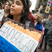 Tens of thousands gathered in downtown Los Angeles to participate in the March For Our Lives protest march. Marches were held in over 800 cities worldwide to protest school shootings and advocate for gun control. The protest was organized after 17 kids were killed in a mass shooting at Stoneman Douglas High School in Parkland, Florida. Hailey Ortiz, 15, a 10th grader at San Dimas High School, holds a sign at the rally.
