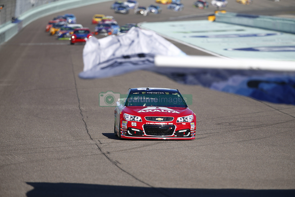 November 19, 2017 - Homestead, Florida, United States of America - November 19, 2017 - Homestead, Florida, USA: Dale Earnhardt Jr. (88) salutes the crowd for his final race prior to the green flag for Ford EcoBoost 400 at Homestead-Miami Speedway in Homestead, Florida. (Credit Image: © Justin R. Noe Asp Inc/ASP via ZUMA Wire)