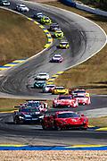 October 10-12, 2019: IMSA Weathertech Series, Petit Le Mans: #62 Risi Competizione, Ferrari 488 GTE, James Calado, Alessandro Pier Guidi, Daniel Serra leads the start of the Petit Le Mans 10hr