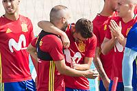 Andres Iniesta, David Villa  during the training of the spanish national football team in the city of football of Las Rozas in Madrid, Spain. August 28, 2017. (ALTERPHOTOS/Rodrigo Jimenez)