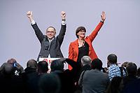 06 DEC 2019, BERLIN/GERMANY:<br /> Norbert Walter-Borjans (R), SPD Parteivorsitzender, und Saskia Esken (L), MdB, SPD Parteivorsitzende, nach ihrer Wahl zu Parteivorsitzenden, SPD Bundesprateitag, CityCube<br /> IMAGE: 20191206-01-083<br /> KEYYWORDS: Party Congress, Parteitag, klatschen, applaudieren, Applaus