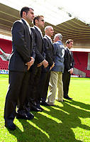 Photo. Richard Lane<br />Southampton FC FA Cup Preview Day at St. Mary's. 13/05/2003.<br />Francis Benali, James Beattie, Chris Marsden and Matt Oakley with suit designer Ted Baker