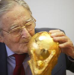 22.02.2014, Bertoni GDE, Mailand, ITA, FIFA WM, FIFA WM POKAL, Gazzaniga, im Bild Silvio Gazzaniga, 94 Jahre alt, ist ein italienischer Bildhauer. Im Jahre 1971 entwarf er den FIFA WM-Pokal die Trophae, die seit 1974 an den Fussballweltmeister ueberreicht wird. Die Trophae wurde in der Originalfabrik in Bertoni GDE, naehe Mailand hergestellt. Auf demn Bild ist ein Replikat zu sehen // during a Photoshooting of Silvio Gazzaniga, who is designed the FIFA Worldcup Trophy in the Year 1971 at the Bertoni GDE in Mailand, Italy on 2014/02/22. EXPA Pictures © 2014, PhotoCredit: EXPA/ Eibner-Pressefoto/ Cezaro<br /> <br /> *****ATTENTION - OUT of GER*****
