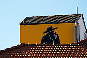 roof top and painted advertisment for sandeman porto portugal