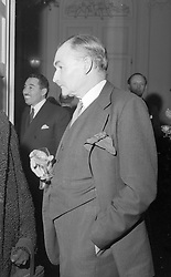 20 January 1955 - Sir Alan Lascelles former Private Secretary to both Queen Elizabeth II and King George VI at a reception at Claridge's Hotel, Brook Street, London<br /> <br /> Photo by Desmond O'Neill/Desmond O'Neill Features Ltd.  +44(0)1306 731608  www.donfeatures.com