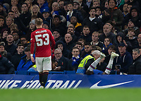 Football - 2019 / 2020 EFL Carabao (League) Cup - Fourth Round: Chelsea vs. Manchester United<br /> <br /> Callum Hudson-Odoi (Chelsea FC) pushed over the advertising boards after he went for the challenge at Stamford Bridge <br /> <br /> COLORSPORT/DANIEL BEARHAM