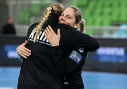 Jovana Riskovic  of Krim celebrates after winning during 1st Leg handball match between RK Krim Mercator (SLO) and CSKA Moscow (RUS) in the Round of 16 of Delo EHF Women's Champions League 2020/21, on March 6, 2021 in Arena Stozice, Ljubljana, Slovenia. Photo by Vid Ponikvar / Sportida