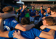 Happy Rochdale players celebrating their escape from relegation during the EFL Sky Bet League 1 match between Rochdale and Charlton Athletic at Spotland, Rochdale, England on 5 May 2018. Picture by Paul Thompson.