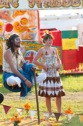© Licensed to London News Pictures. 03/06/2016. Hay-on-Wye, Powys, Wales, UK. The Spiegel Circus prepare to welcome festival-goers as the evening entertainment gets under way on the ninth day of 'HowTheLightGetsIn' Festival of Ideas - The philosophy and music festival at Hay-on-Wye, Wales, UK. HowTheLightGetsIn festival was founded by post-realist philosopher and director of the Institute of Art and Ideas, Hilary Lawson. Photo credit: Graham M. Lawrence/LNP